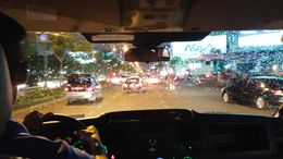 Travelling in the minibus from Ho Chi Minh City Airport to our hotel on Tran Hung Dao. , Chelsea M - July 2015