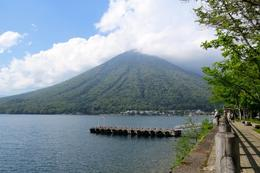 Lake Chuzenji with Mount Nantai -cloud almost gone , Sandra D - June 2017