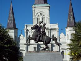Statue of Andrew Jackson and St. Louis Cathedral in the background , Diane G - January 2011