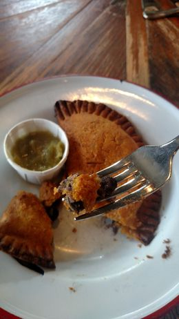 Close of the vegetarian option, a black bean and cheese hand pie from Chile Pies & Ice Cream, Emily G - August 2015