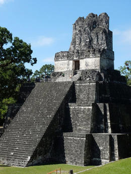 Close up view of the main pyramid at Tikal., kellythepea - July 2012