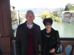My husband and I at Bassano Del Grappa. The guide took this photo for us on our way to grappa tasting. , Jessica Z - December 2012