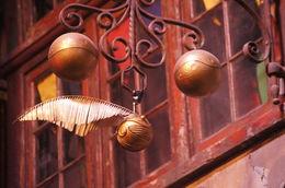 Obsession ultime de tout attrapeur qui se respecte, le vif d'Or plane au-dessus de la boutique de Quiddish du chemin de traverse... Pensez à marcher un peu le nez en l'air.... , Philippe D - December 2015
