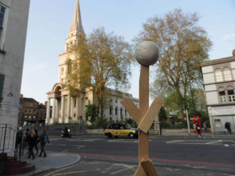 Traveling Stickman at White Chapel - London