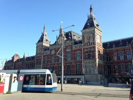 Amsterdam Central Station from across the Canal Bus ticket office. , Eujin C - July 2014