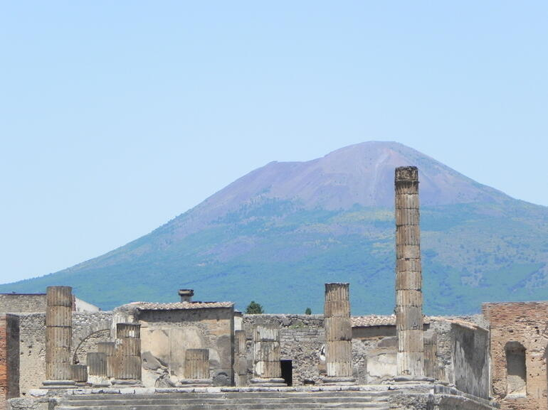 Mt. Vesuvius looming in the background - Rome