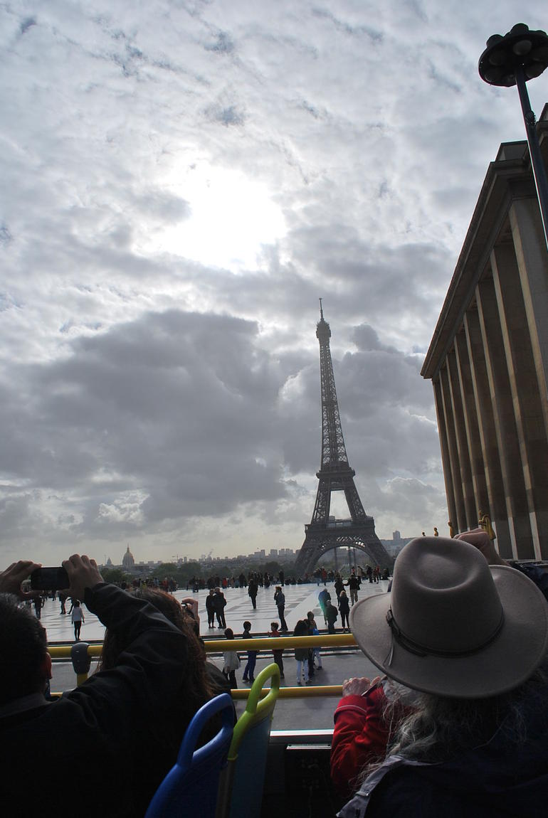 View of the Effiel Tower from the Hop On Hop Off Bus - Paris