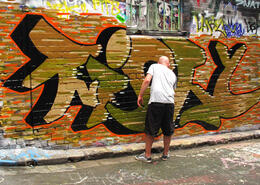 With so many legal walls available, even visiting artists, like this bloke from the UK, can get themselves up and noticed in Melbourne's laneways. , ROD C - February 2011