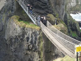 Crossing the Carrick - a- Rede rope bridge . , Anthony H - February 2017