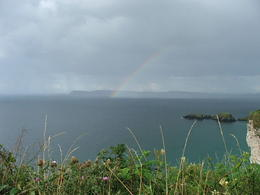 Rainbow at rope bridge. , Douglas S - August 2011