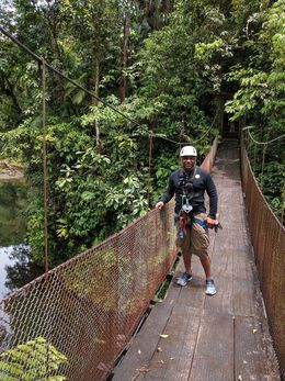 on the Molinete River Hanging Bridge headed toward zip lining , Jabari-Jason T - July 2016