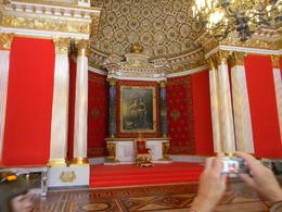 The walls are normally covered with the same red velvet with silver embroidery that's visible in the alcove around the throne. They're down for renovation. Some opulence! The Tsars were already..., John L S - July 2014