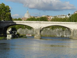 See St Peters Basilica from the Tiber river , La'Chelle - January 2018