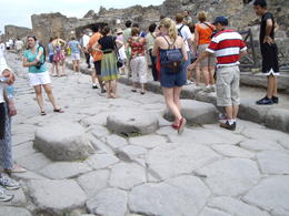 stepping stones to cross the street which was continually cleaned with water. , Ruth R - July 2011