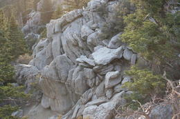 view of rock and pine formation from tram , Jan S - July 2013