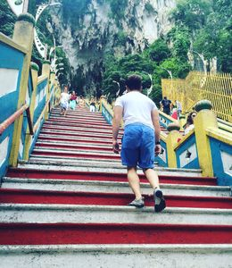 Climbing way up the 272 steps to the caves. , Zandy - August 2016