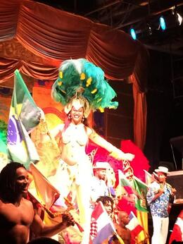 There´s a dancer with the Brazil's flag and all the dancers in the scenario , ANGEL VILLEGAS - April 2014