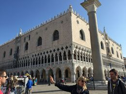 Our guide explains why Venetians don't stand between the pillars of the city gate. , weathertop - July 2015