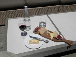 Wine and cheese platter at the vinyard stop on the blue line , Dean R - December 2013
