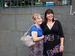 julie and tami waiting for dinner cruise boat , Carol D - May 2011