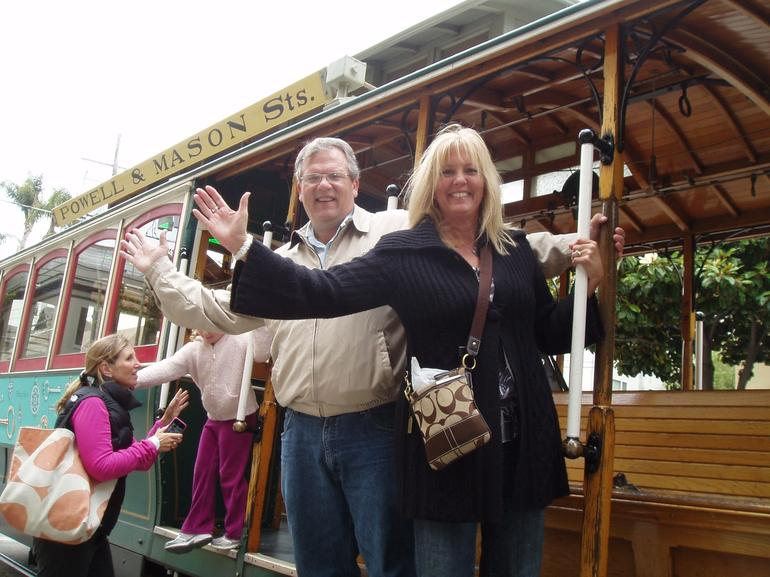 Riding a cable car in San Francisco - having a blast!!! - San Francisco