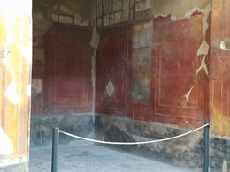 The actual paintings on the walls in a mansion inside Pompeii , Jan - March 2017