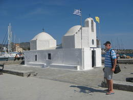 Aegina harbor with Brian and Church in background. , Gerhard - August 2017
