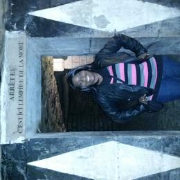 Me at the entrance to the osscuaries of the Catacombs... sooooo kool! , LisaMarie - November 2014