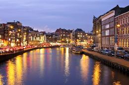 Amsterdam's Damrak by night - May 2011