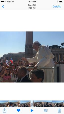 The Pope passing by very close to us twice. , Stephen P - June 2017