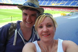 Jill and Kieran at the Nou Camp , Jill M - July 2012