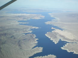 View from the plane approaching Lake Mead on the return journey , elaine - March 2013