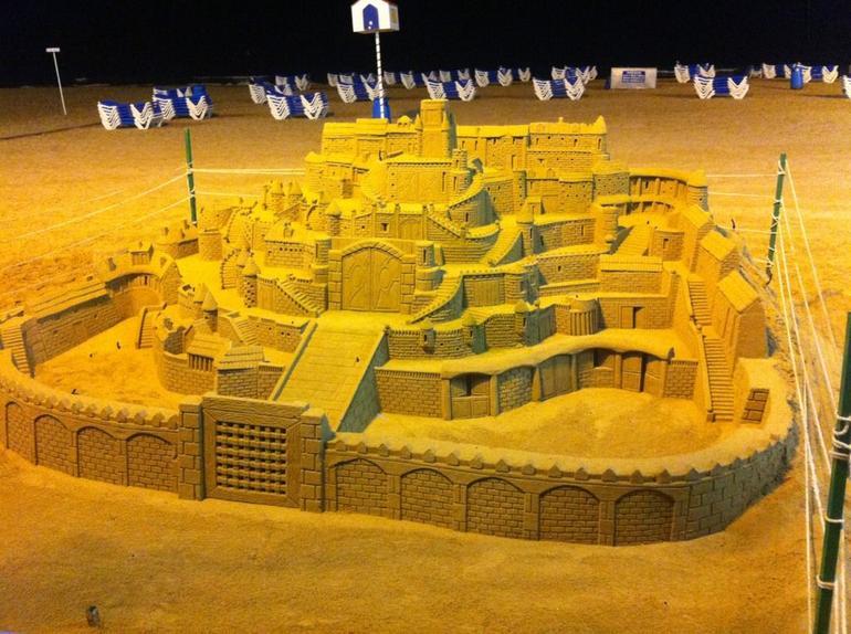 sand sculpure on beach -