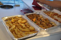 French Fries and fried sausage bites , Holger H - August 2014