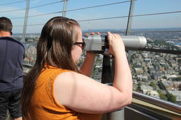 Paige taking in the sights at the top of the Space Needle , John G - July 2017