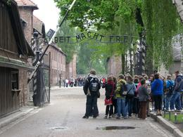 Gate at main entrance to Auschwitz. - May 2010