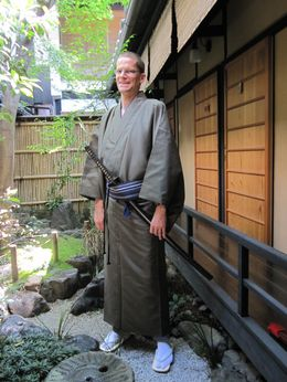 Jeffrey Hamilton dressed in kimono for tea ceremony. , Jeffrey H - May 2015