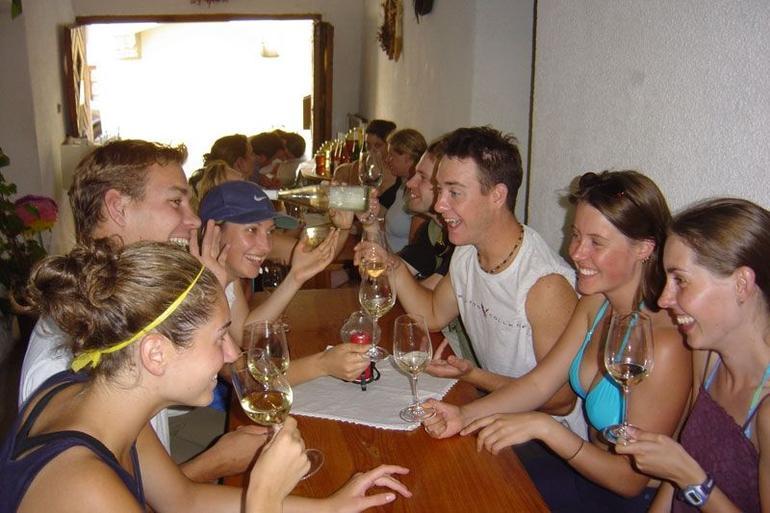 Enjoying the company and wine! - Vienna