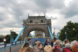 Going on the London Bridge from the Hop On Hop Off Bus , Sandra M - September 2013