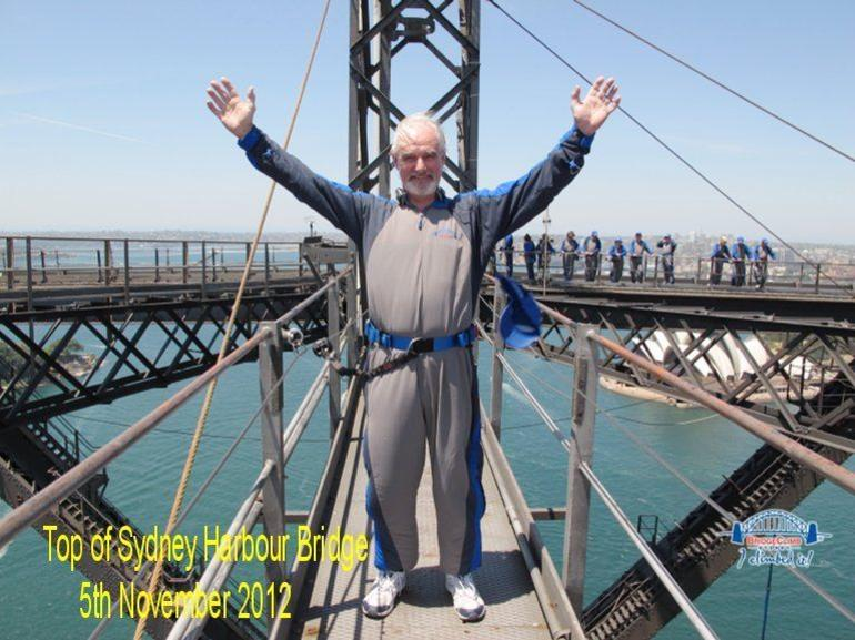 Me at the top of the bridge on the cross over - Sydney