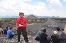 A picture of me on the Piramide De La Lune with the Piramide Del Sol and the Avenida de las Muertas in the background. , JesterPSU99 - April 2014