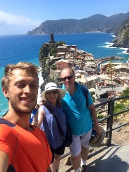 Fabio takes a selfie with us at the end of our hike to Varazzo. , Rob M - July 2015