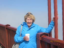 Marg walking across Golden Gate Bridge. We had an excellent guides on this Hop on Hop off bus tour, especially Dion who was a great entertainer. , Peter C - October 2014