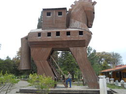 This picture is of Turkish artist Izzet Senemoglu's rendering of the famous wooden horse used in the war against Troy, erected in 1975, at the site of the excavations. , Prodyut B - December 2012