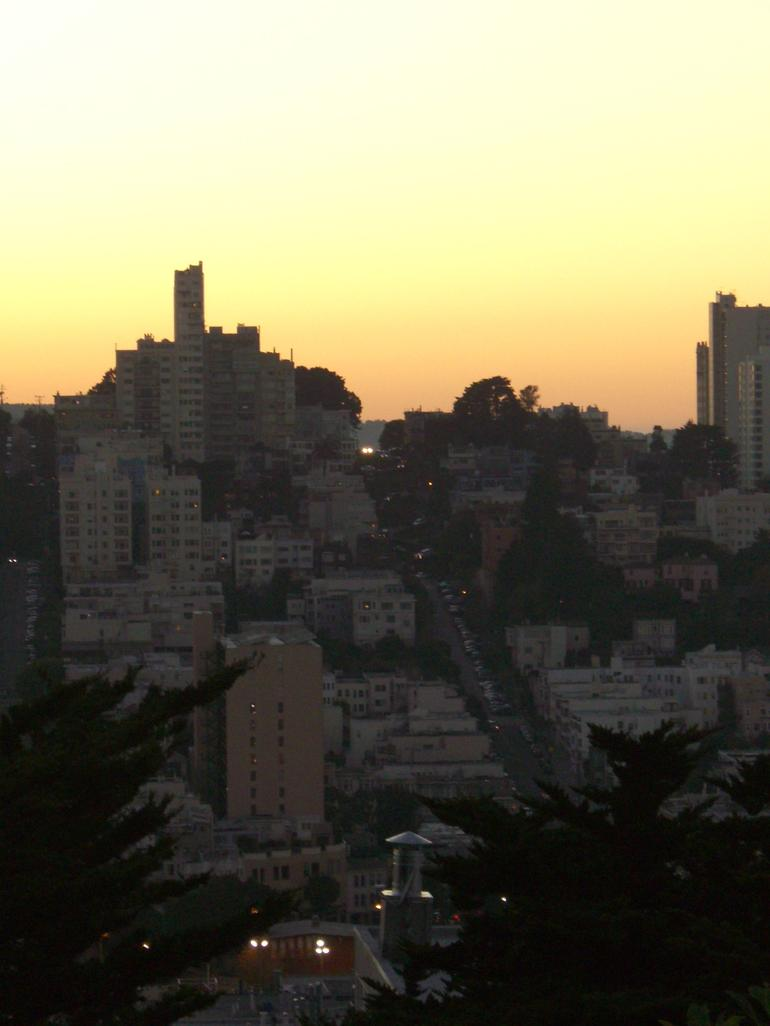 View of Lombard Street at sunset - San Francisco