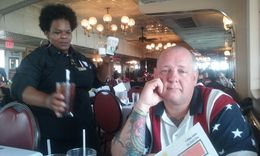 Vernon, was starving, can you tell? We have been seated on the Steamboat Natchez for our Brunch. Now we wait to be called and get in line for our buffet. Can you tell Vernon's hungry? LOL! , karenalex67 - August 2016