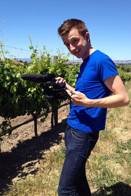 Checking out the grapes, Jules & Brock - July 2012