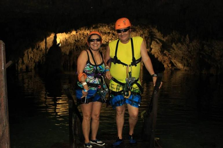 Ziplining into Cenote - Cancun