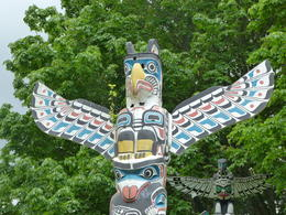 One of the Totem Poles in the collection in Stanley Park, Vancouver, BC , Lynn G - July 2017