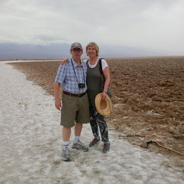 Tom and Paulina Brecher standing on the salt flats of Death Valley. A remarkable experience. , Paulina B - August 2014